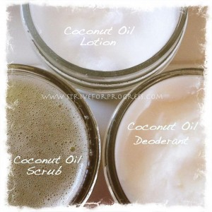 coconut oil lotion, deodorant, scrub