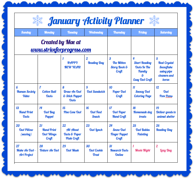 Kids Craft & Activity Planner for January from Strive For Progress