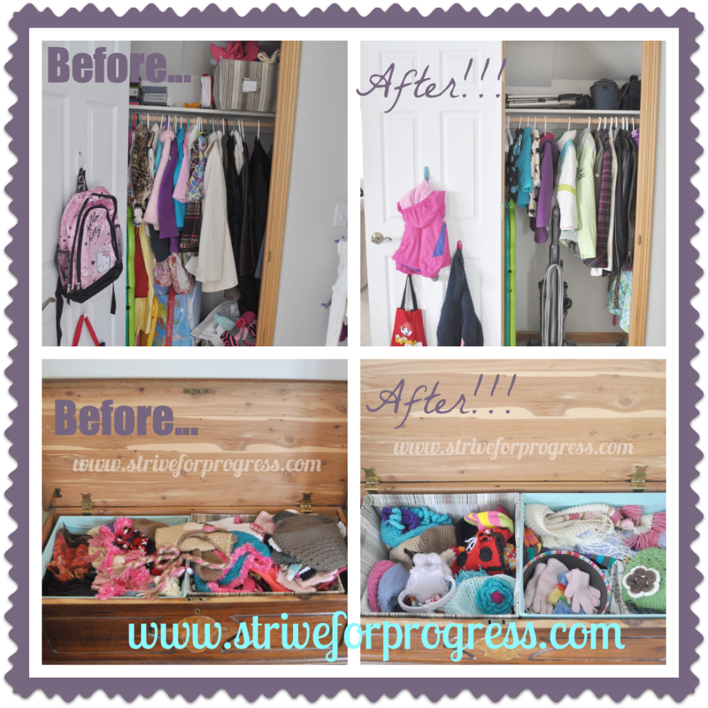 Savvy Home: The Coat Closet by Mae at Strive For Progress! Follow along an organizing journey! You can do it to!