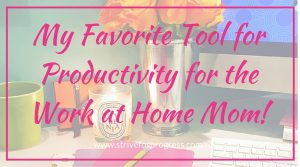 My Favorite Tool for Productivity for the Work at Home Mom!