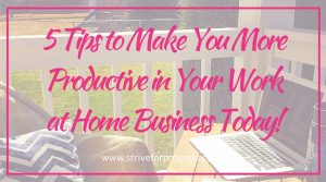 5 Tips to Make You More Productive in Your Work at Home Business Today!